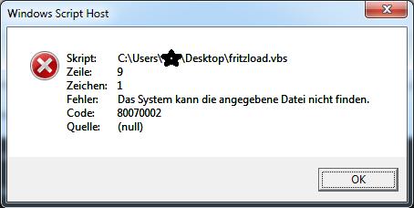 Fehler in Zeile 9, Zeichen 1, Code: 80070002